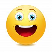 stock photo of laugh out loud  - Laughing out loud emoticon - JPG