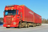Red Scania R500 Semi Trailer Truck