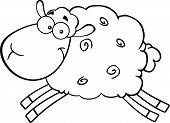 Black And White Sheep Cartoon Mascot Character Jumping