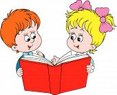 Girl and boy reading the red book