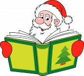 Santa Claus reading the book