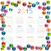 2015 Calendar With Vitamins And Minerals For Drugstores And Hospitals
