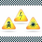 Signs of dangerous- high voltage, poison; laser radiation.
