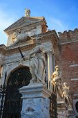 stock photo of arsenal  - Statues entrance of the Arsenale in Venice Italy - JPG