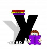 Alphabet Absorbed In Reading X