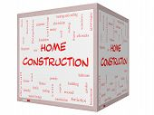 Home Construction Word Cloud Concept On A 3D Cube Whiteboard