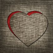 Heart Of Linen Fabric With Red Substrate
