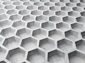 stock photo of honeycomb  - Gray concrete honeycomb structure background pattern - JPG