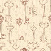 seamless pattern with retro keys
