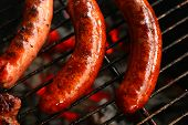 stock photo of grilled sausage  - Sausage Barbecue  - JPG