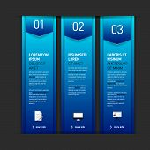 Set Of Three Blue Banners - Options - Info Graphics