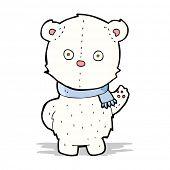 cartoon waving polar bear cub
