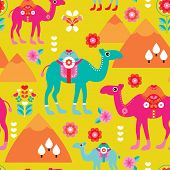 Seamless kids camel illustration background pattern arabic theme pyramid in vector