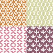 Seamless vintage garden abstract grunge leaf and raw brush flowers collection illustration background pattern set in vector