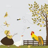 foto of orchard  - Cute girl with goose bee and butterflies in the orchard with apple trees - JPG