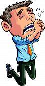 Cartoon office worker begging for his job.