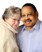 picture of bifocals  - Portrait of a loving biracial senior couple - JPG