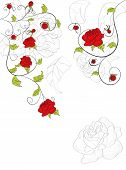 Decorative background with red roses flowers