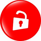 Padlock Icon Web Sign. Rounded Button