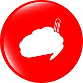 Cloud Button With Clip, Web Icon Isolated On White