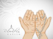 Praying hands with mantis on floral decorated grey background for holy month of Muslim community Ram