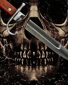 picture of skull cross bones  - Dark photo collage violence concept artwork showing a dark skull with his left balleyes crossed by a kitchen knife - JPG