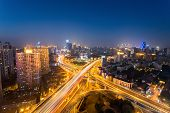 Night Scene Of Shanghai Yanan West Road