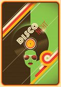 Retro disco night poster design. Vector illustration.