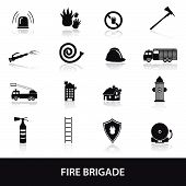 fire brigade icons set eps10