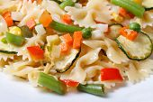 Farfalle Pasta With Slices Of Vegetables, Cheese Macro