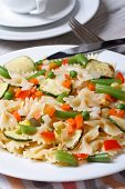 Italian Pasta Farfalle With Vegetables Closeup  Vertical