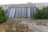 Dam at day and discharge flood water, hong kong