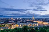 Turin (Torino), high definition view at twilight