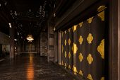 Wooden corridor with nobody at Higashi Honganji Temple, Kyoto, Japan.