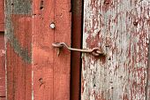 Cast Iron Hook And Eye Lock On Old Barn Door
