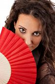 Beautiful Woman With Red Fan