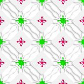 Wavy Lines With Pink And Green Seamless