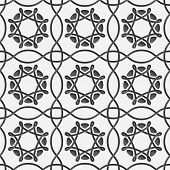 White Squares And Geometric Flowers On Gray Seamless
