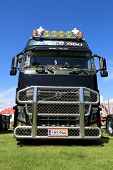Black Volvo FH16 660 Truck With Bull Bar In A Show