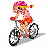 The Illustration Of A Cartoon Girl On A Bicycle.