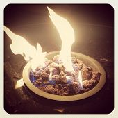 Fire in outdoors fire pit - Camp fire  - instagram effect