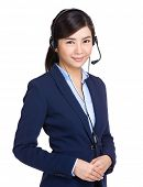 Customer service operator with headset