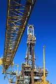 image of derrick  - Derrick of Tender Drilling Oil Rig (Barge Oil Rig) on The Production Platform