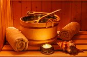 cosy atmosphere in the sauna in a spa area of ??a wellness hotel. recreation and relaxation from eve