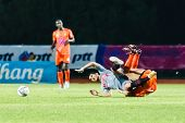 Sisaket Thailand-june 29: Mika Chunuonsee Of Bangkok Utd. (grey) In Action During Thai Premier Leagu