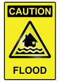 picture of hazardous  - Flood hazard warning information sign isolated on white background - JPG