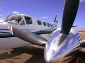 image of cessna  - Left engine and prop of a Cessna Conquest II - JPG
