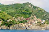 Manarola in Cinque Terre, Italy, view at the town from mountain trail