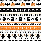 Halloween seamless pattern - pumpkin, ghost, voodoo doll