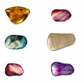 Various Gems On The White Background